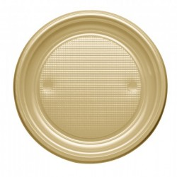 LOT Assiette plastique ronde or 17cm x 25 pièces anniversaire mariage baptême retraite fête neuve
