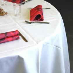 Nappes en non-tissé blanche ronde 240 cm anniversaire mariage baptême retraite