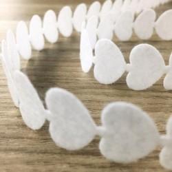 Ruban feutrine coeur blanc 2 mètres anniversaire mariage baptême retraite