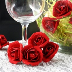 Lot de 9 Roses lin rouges 2,8 cm anniversaire mariage baptême retraite