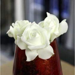 Lot de 6 Roses mousse sur tige blanches 5 cm anniversaire mariage baptême retraite