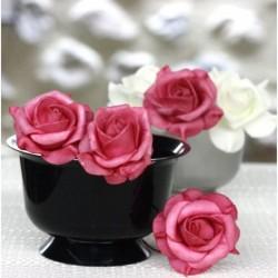 Lot de 6 Roses mousse sur tige fuchsia 5 cm anniversaire mariage baptême retraite