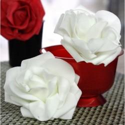 Lot de 4 Roses mousse sur tige blanches 8 cm anniversaire mariage baptême retraite
