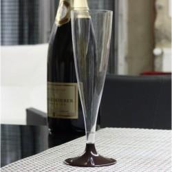 Lot de 10 Flûtes à pied plastique 14 cl marron chocolat anniversaire mariage baptême retraite