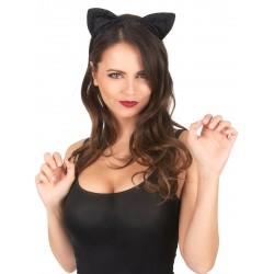 Oreilles de chat noires Déguisement femme adulte anniversaire mariage retraite humour neuf