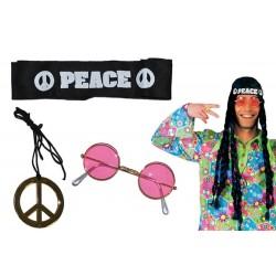 Set hippie 3 pièces adulte déguisement carnaval anniversaire mariage retraite humour neuf