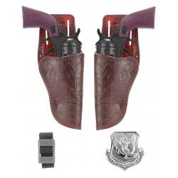 Set 2 pistolets + accessoires cow boy déguisement enfants ou adultes carnaval anniversaire humour neuf