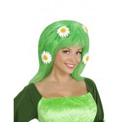 Perruque verte avec marguerites femme déguisement adulte anniversaire mariage retraite humour neuf