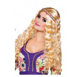 Perruque ondulée blonde avec bandeau hippie femme déguisement adulte anniversaire mariage retraite humour neuve