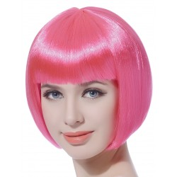 Perruque courte rose fluo femme déguisement adulte anniversaire mariage retraite humour neuve