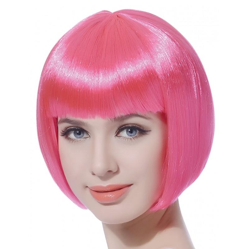 Perruque courte rose fluo femme déguisement