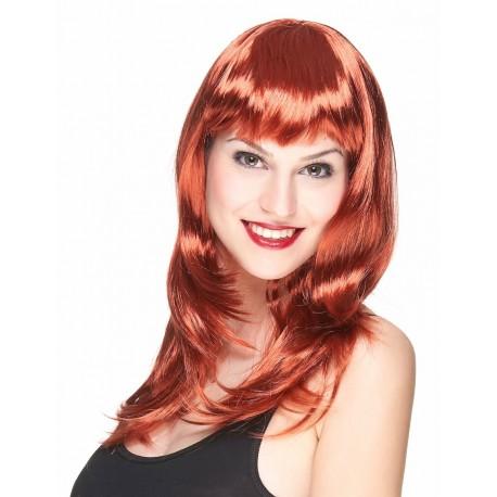 Perruque longue rousse à frange femme déguisement adulte carnaval anniversaire mariage retraite neuve