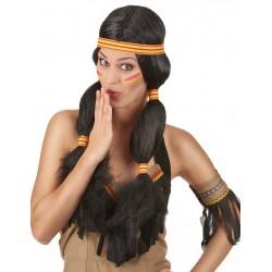 Perruque Indienne femme déguisement adulte carnaval anniversaire mariage retraite neuve