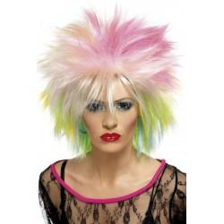 Perruque courte multicolore punk femme ou homme déguisement adulte carnaval anniversaire mariage retraite neuve