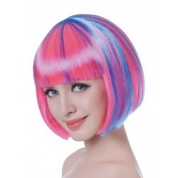 Perruque courte méchée rose/bleue femme adulte anniversaire mariage retraite humour neuve