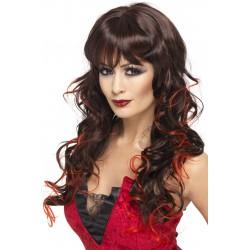Perruque longue noire avec mèches rouges femme adulte carnaval anniversaire mariage retraite neuve
