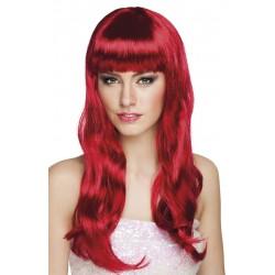 Perruque longue rouge foncée femme adulte carnaval anniversaire mariage retraite neuve