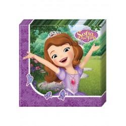Lot de 20 Serviettes en papier 33x33cm Princesse Sofia et la licorne enfant anniversaire fête