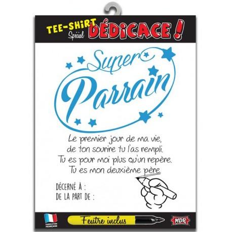 Tee Shirt Dedicace Super Parrain Anniversaire Fete Idee Cadeau Neuf