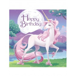 Lot de 16 Serviettes en papier Anniversaire Licorne 33 x 33 cm enfant anniversaire fête