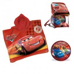 Lot 3 pièces cars Flash Mc Queen Sac + Poncho serviette de bain + ballon 23 cm idée cadeau anniversaire noel neuf