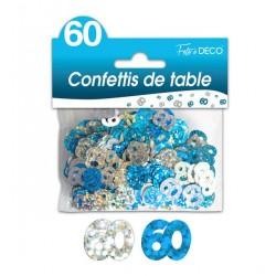 CONFETTIS DE TABLE 60 ANS HOLOGRAMME ROSES ET ARGENT FETE NEUF