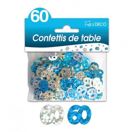 CONFETTIS DE TABLE 60 ANS HOLOGRAMME BLEUS ET ARGENT FETE