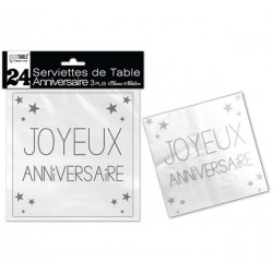 LOT DE 24 SERVIETTES DE TABLE ANNIVERSAIRE 3 PLIS BLANC ALBATRE FÊTE