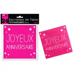 LOT DE 24 SERVIETTES DE TABLE ANNIVERSAIRE 3 PLIS FUCHSIA FÊTE