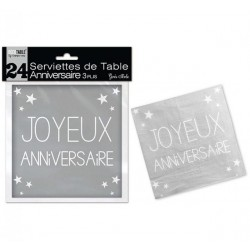 LOT DE 24 SERVIETTES DE TABLE ANNIVERSAIRE 3 PLIS GRIS PERLE FÊTE