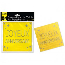 LOT DE 24 SERVIETTES DE TABLE ANNIVERSAIRE 3 PLIS JAUNE SOLEIL FÊTE