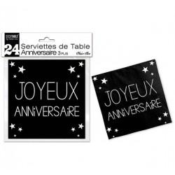 LOT DE 24 SERVIETTES DE TABLE ANNIVERSAIRE 3 PLIS NOIR PUR FÊTE