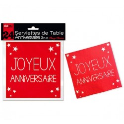 LOT DE 24 SERVIETTES DE TABLE ANNIVERSAIRE 3 PLIS ROUGE PASSION FÊTE