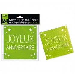 LOT DE 24 SERVIETTES DE TABLE ANNIVERSAIRE 3 PLIS VERT EXCELLENCE FÊTE