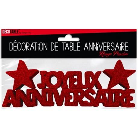 DÉCORATION DE TABLE JOYEUX ANNIVERSAIRE ROUGE PASSION FÊTE