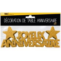 DÉCORATION DE TABLE JOYEUX ANNIVERSAIRE COULEUR OR FÊTE NEUVE