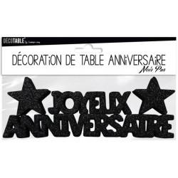 DÉCORATION DE TABLE JOYEUX ANNIVERSAIRE NOIR PUR FÊTE NEUVE