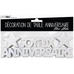 DÉCORATION DE TABLE JOYEUX ANNIVERSAIRE BLANC ALBATRE FÊTE NEUVE