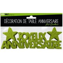 DÉCORATION DE TABLE JOYEUX ANNIVERSAIRE VERT EXCELLENCE FÊTE NEUVE