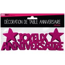 DÉCORATION DE TABLE JOYEUX ANNIVERSAIRE FUCHSIA FÊTE NEUVE