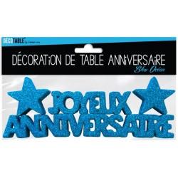 DÉCORATION DE TABLE JOYEUX ANNIVERSAIRE BLEU OCÉAN FÊTE NEUVE