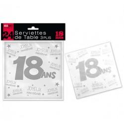 LOT DE 24 SERVIETTES DE TABLE 18 ANS 3 PLIS ANNIVERSAIRE FÊTE NEUVE