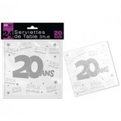 24 SERVIETTES DE TABLE 20 ANS 3 PLIS ANNIVERSAIRE FÊTE