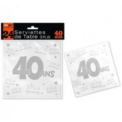 24 SERVIETTES DE TABLE 40 ANS 3 PLIS ANNIVERSAIRE FÊTE