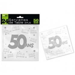LOT DE 24 SERVIETTES DE TABLE 50 ANS 3 PLIS ANNIVERSAIRE FÊTE NEUVE