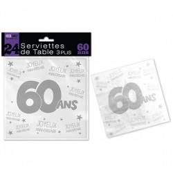 LOT DE 24 SERVIETTES DE TABLE 60 ANS 3 PLIS ANNIVERSAIRE FÊTE NEUVE
