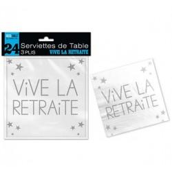 24 SERVIETTES DE TABLE 3 PLIS VIVE LA RETRAITE FÊTE