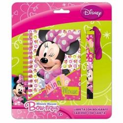 Bloc Notes + Stylo Cordon Minnie licence Disney enfant fourniture scolaire vacances loisirs neuf