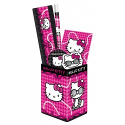 HELLO KITTY POT A CRAYONS GARNIE 6 PIECES FOURNITURES SCOLAIRES enfant fille neuf