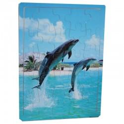 Puzzle en bois de 25 pièces dauphins enfant idée cadeau anniversaire noel neuf